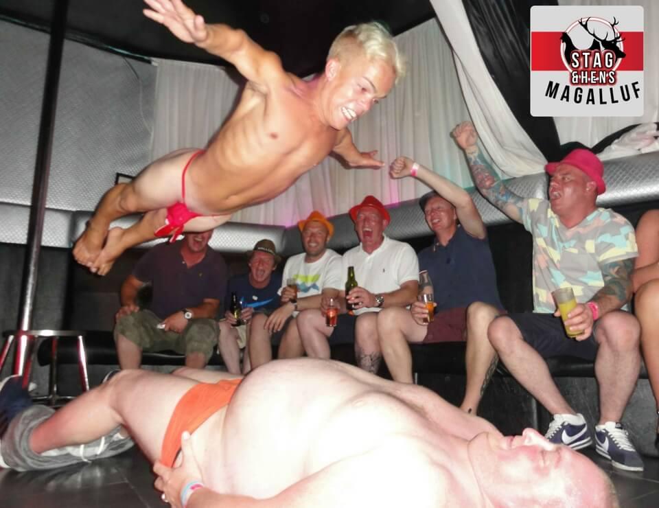Stag do dwarf stripper dive