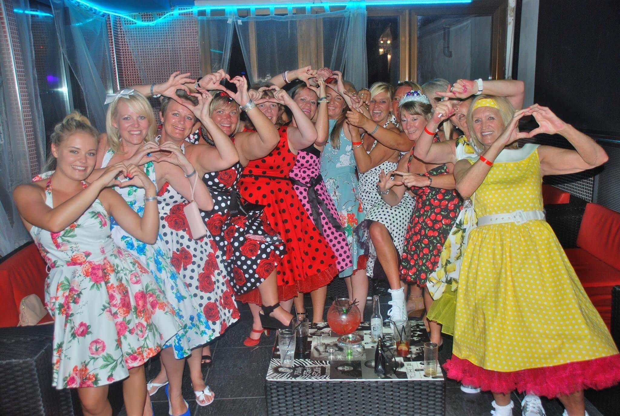 ladies in fancy dress on hen party in Magaluf